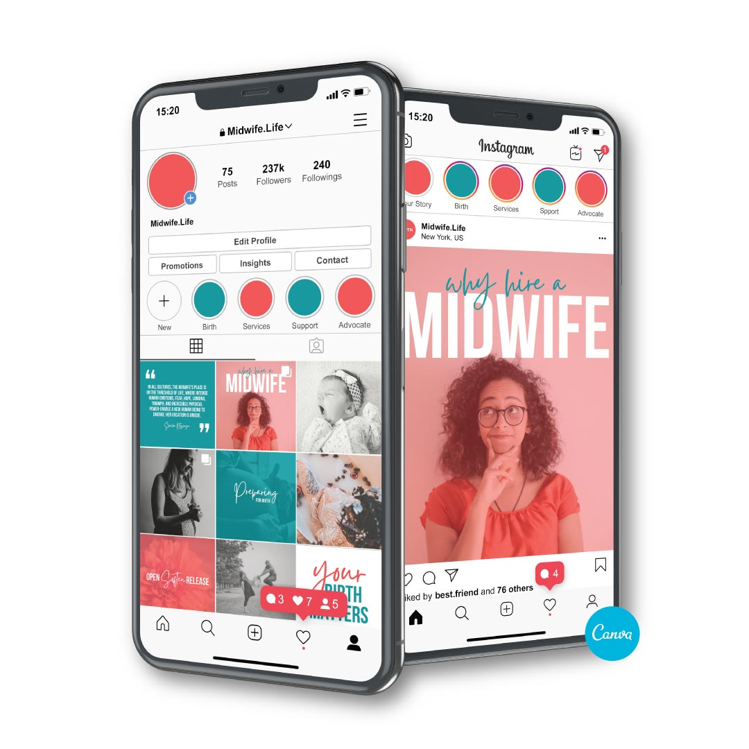 Canva templates for Instagram - Midwife