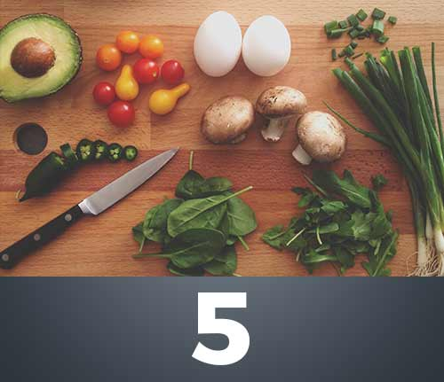 variety of fresh food on cutting board